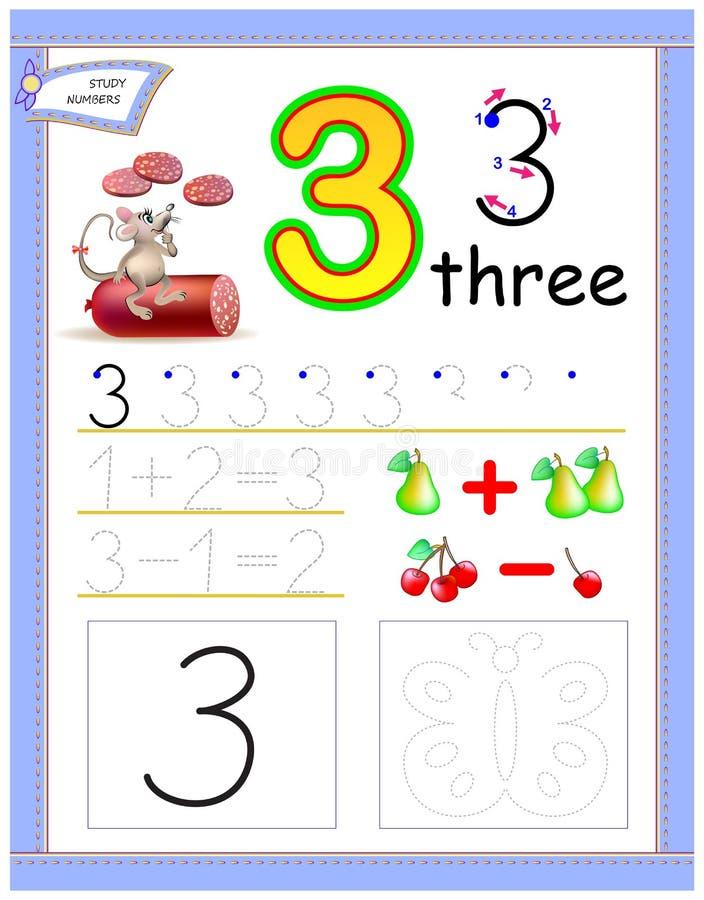 Edukacyjna strona dla dzieciaków z liczbą 3 Rysuje kontur i maluje motyla Printable worksheet dla dziecko podręcznika royalty ilustracja