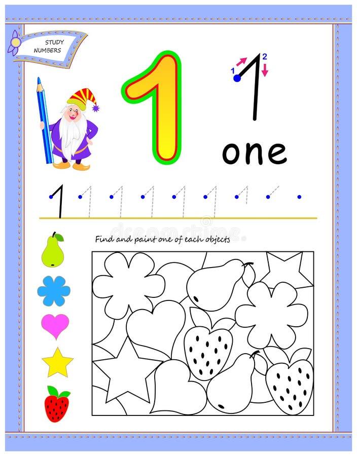 Edukacyjna strona dla dzieciaków z liczbą 1 Znalezisko i maluje jeden each protestuje Printable worksheet dla dziecko podręcznika ilustracji