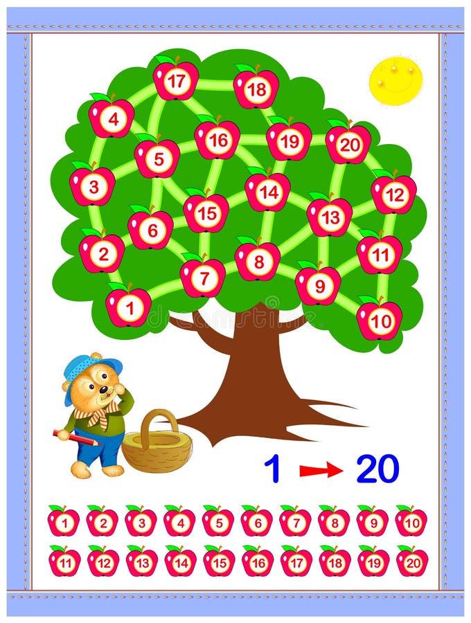 Edukacyjna strona dla dziecko książki Pomaga niedźwiedzia zbierać jabłka Rysuje linię między liczbami 1 do 20 zgodnie ilustracji