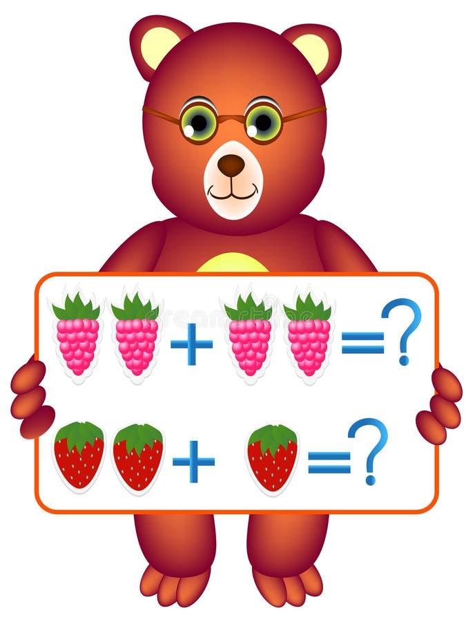 Edukacyjne gry dla dzieci, ilustrują matematycznie przygotowanie z jagodami, royalty ilustracja
