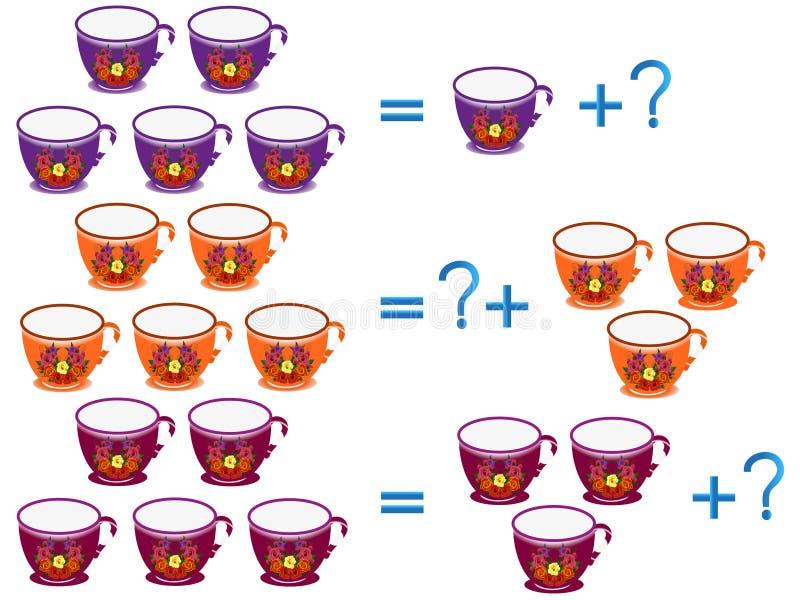 Edukacyjne gry dla dzieci, na składzie pięć, przykład z filiżankami ilustracji