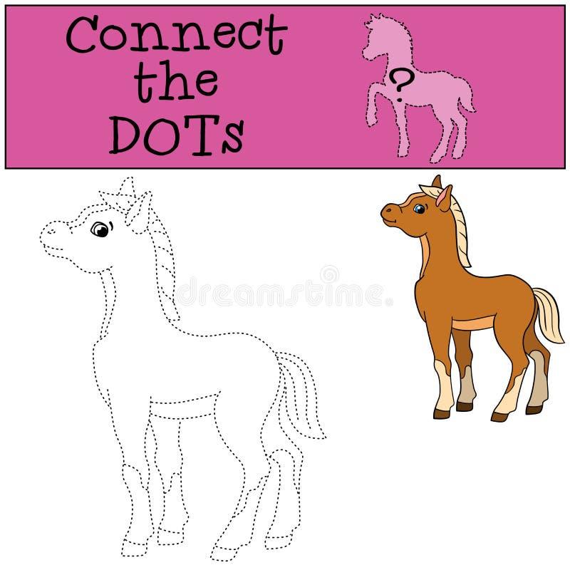 Edukacyjne gry dla dzieciaków: Łączy kropki Mały śliczny źrebię ilustracja wektor