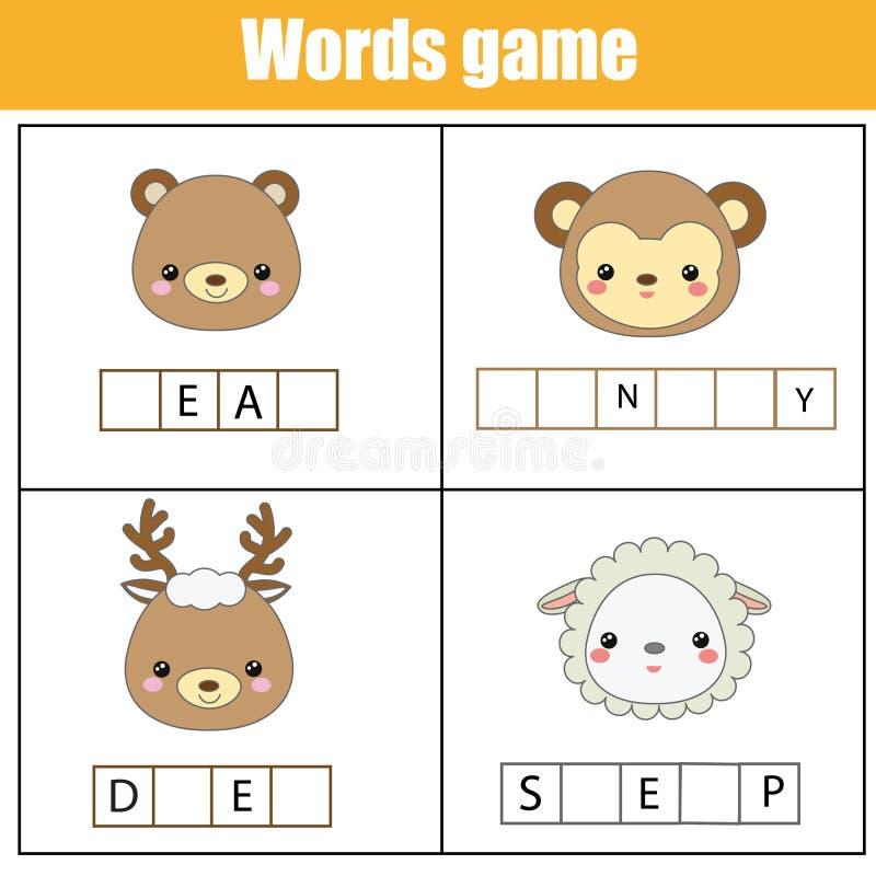 Edukacyjni dzieci gemowi Uzupełnia słowo dzieciaków aktywność Zwierzę temat Uczenie słownictwo ilustracji