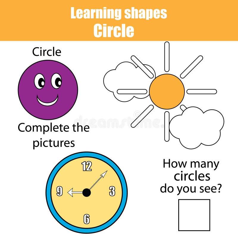 Edukacyjni dzieci gry, dzieciak aktywność Uczyć się kształty, okrąg royalty ilustracja