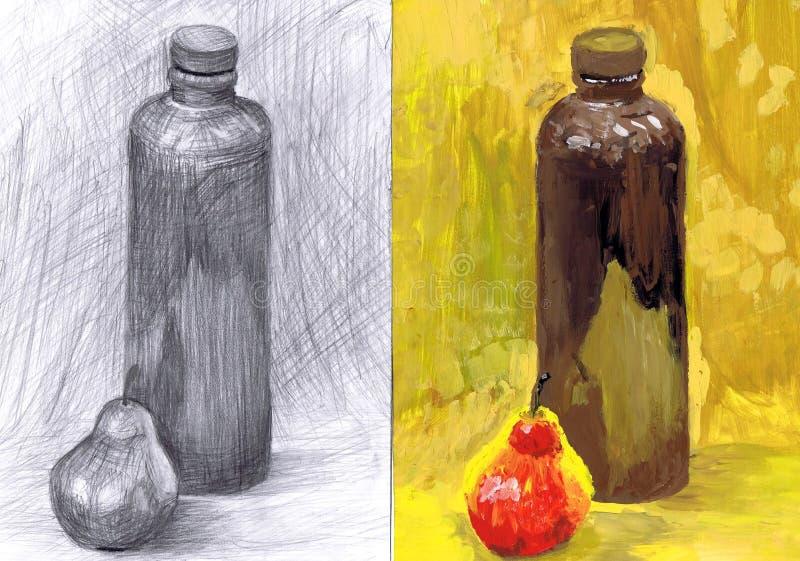 Edukacyjny życie «Ceramiczna Wielka butelka i bonkreta «wciąż TARGET64_1_ i target65_1_ royalty ilustracja