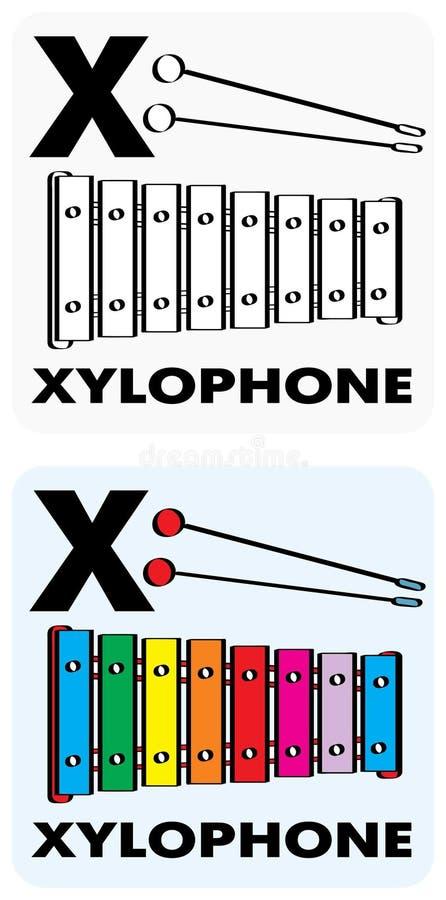 edukacyjny flashcard x ilustracja wektor