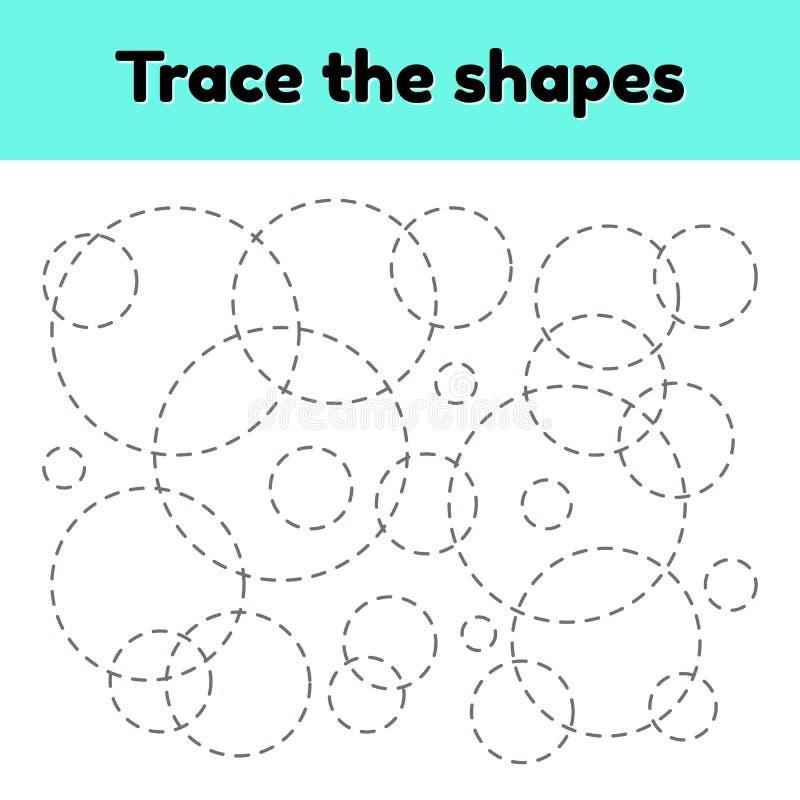 Edukacyjny kalkowania worksheet dla dzieciaka dziecina, preschool i szkolnego wieka, Tropi geometrycznego kształt Przekl?te linie ilustracja wektor
