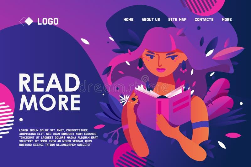 Edukacyjny sztandar dla bookstore lub biblioteki o miłości czytać i czytający ludzie Młoda kobieta trzyma papierową książkę w żyw royalty ilustracja