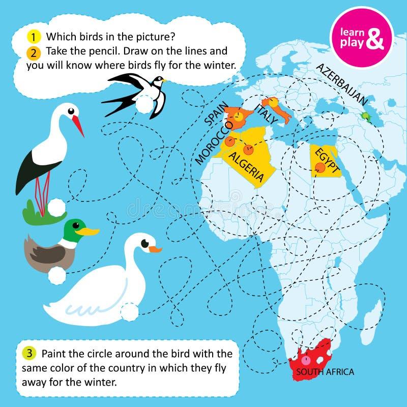 Edukacyjny zadanie dla dzieci Imię ptaki w obrazku Podąża kropkująca linia ty znasz jaki krajów ptaki latają daleko od royalty ilustracja
