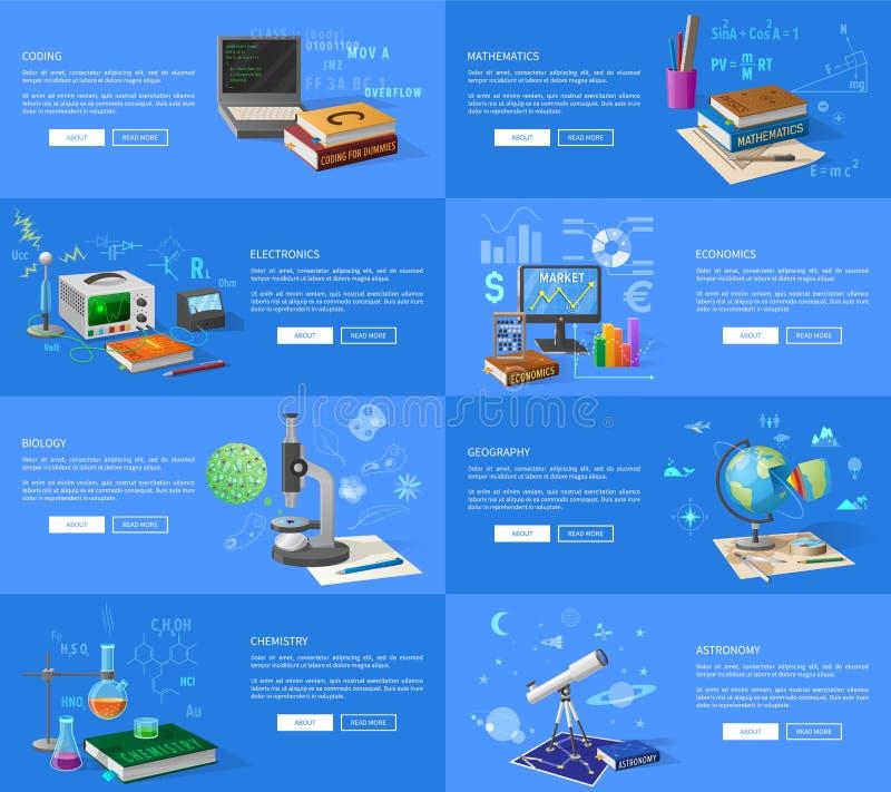 Edukacyjnych tematów Pouczające Internetowe strony royalty ilustracja