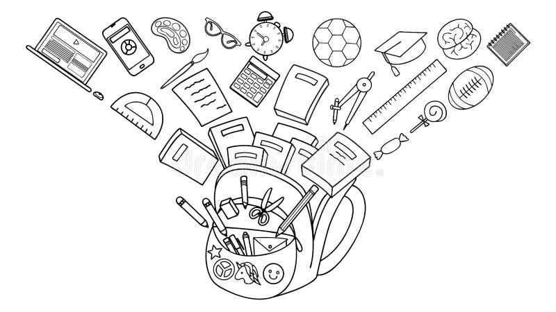 Eduque o fluxo estacionário na escola do tho para trás, conceito educacional ilustração do vetor