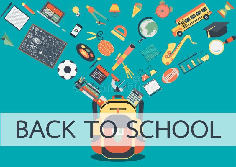 Eduque os materiais que fluem na escola para trás De volta ao conceito da escola para o fundo, a bandeira, o cartaz e o elemento  ilustração do vetor