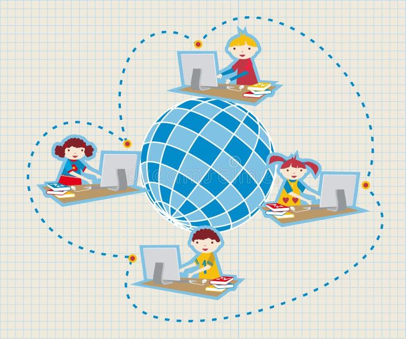 Eduque uma comunicação social da rede ilustração stock