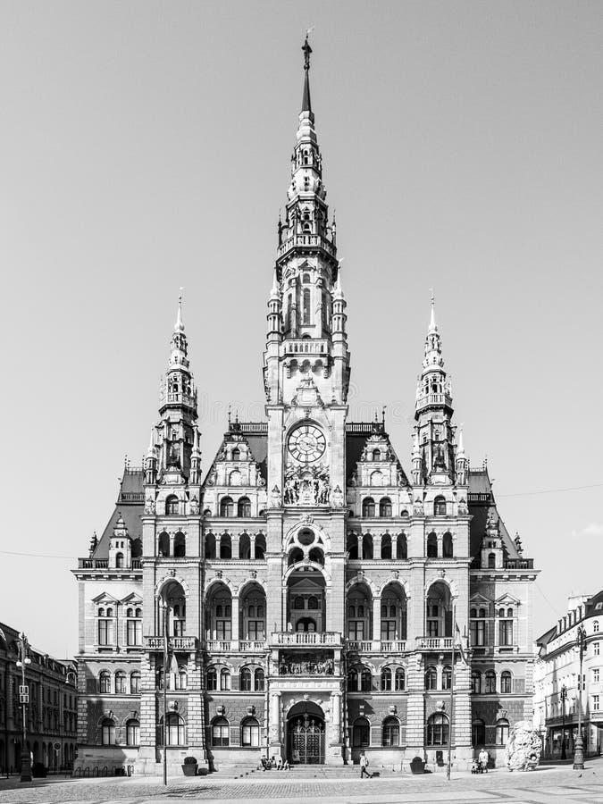 Edvard Benes广场的城镇厅在利贝雷茨,捷克 免版税图库摄影