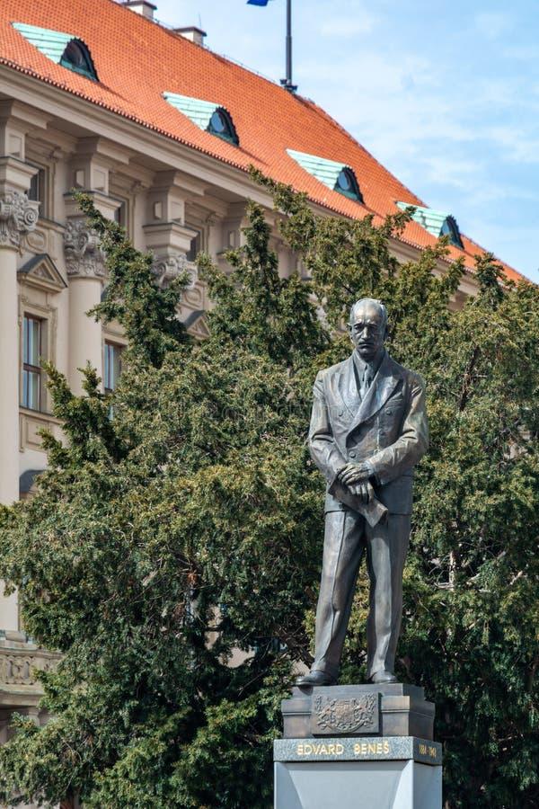 Edvard Benes雕象在布拉格 库存图片