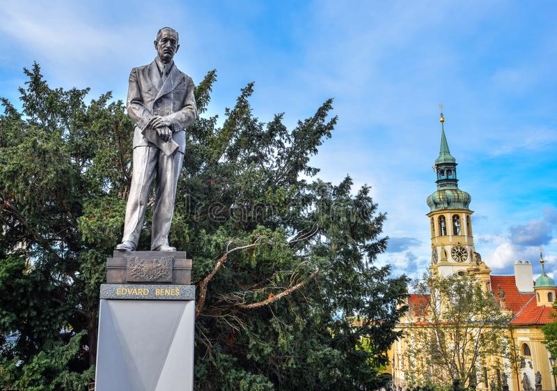 Edvard Benes,捷克斯洛伐克和Loreta,布拉格,捷克的前总统雕象  免版税库存图片