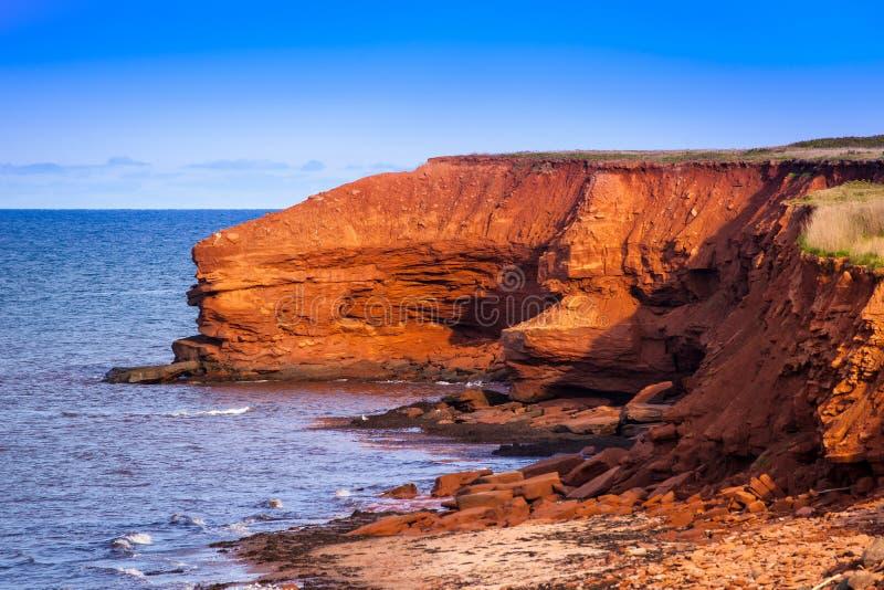 Edwad Island王子红色峭壁  图库摄影