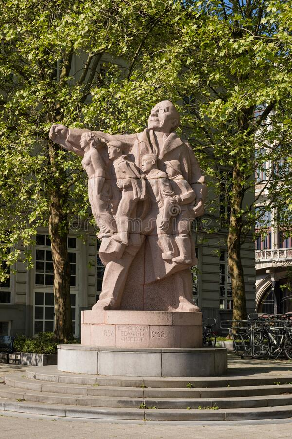 Ghent, Belgium - April 26, 2020: Statue of the socialist politician Edward Anseele royalty free stock photography