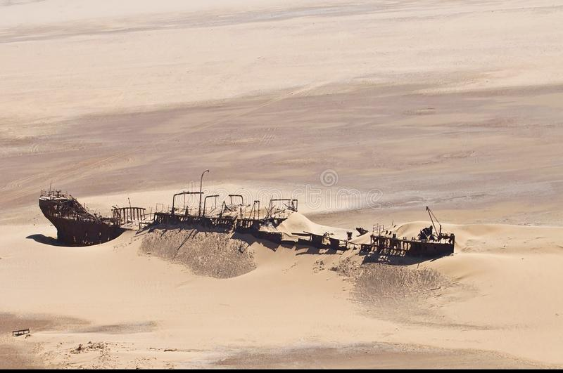 Edward Bohlen shipwreck on Namib desert, Skeleton Coast, Namibia. royalty free stock photos