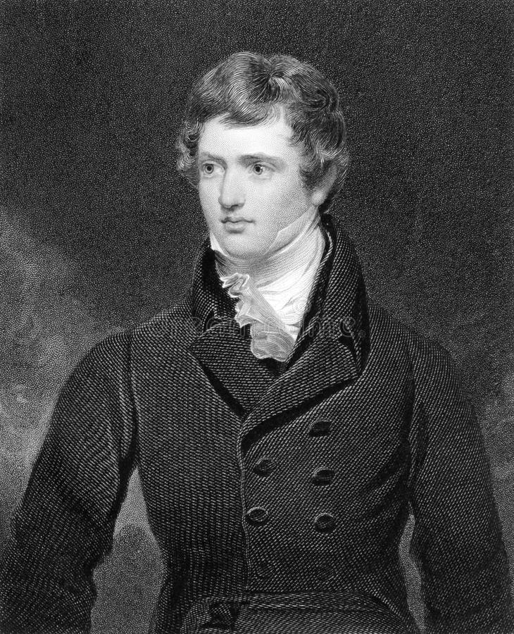 Edward Geoffrey Stanley, Earl of Darby. (1799-1869) on engraving from 1835. English statesman, three times Prime Minister and longest serving leader of the stock photos