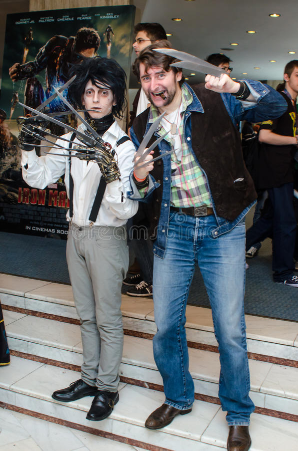 Cosplayers at East European Comic Con. Edward Scissorhands and Wolverin cosplayers at East European Comic Con, Bucharest, Romania 2013 royalty free stock photography
