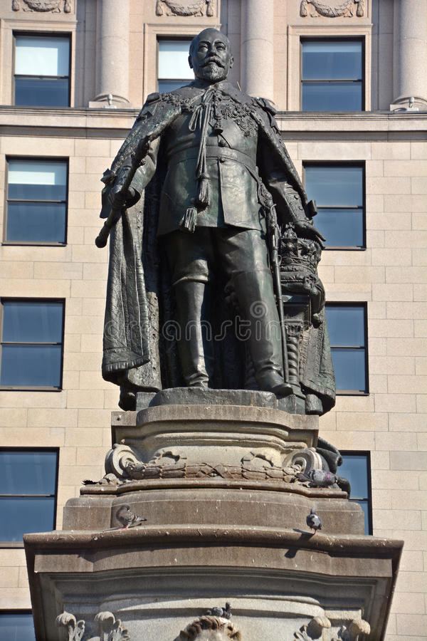 The Edward VII Monument. MONTREAL CANADA AUGUST 17 2016: The Edward VII Monument is a statue of King Edward VII by artist Louis-Philippe Hebert and located at royalty free stock photo