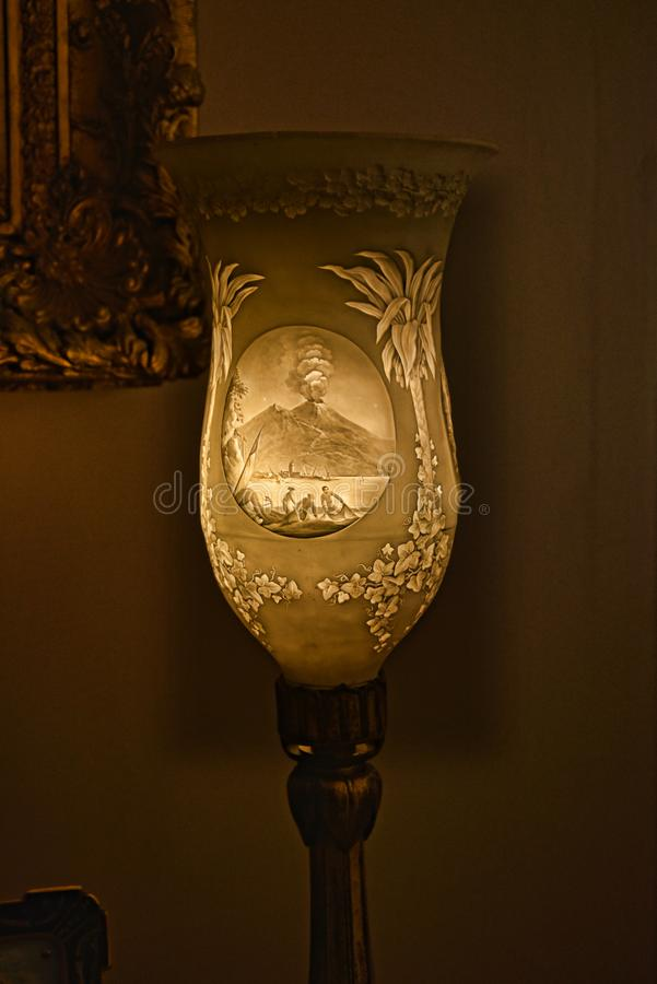 Stone lamp with Mount Vesuvius in a Beautiful Country House near Leeds West Yorkshire that is not a National Trust Property. Edwardian Country House that has royalty free stock images