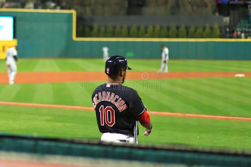 Edwin Encarnacion, Cleveland Indians Baseball game. Cleveland Indians Major League Baseball game at Progressive Field in Cleveland , Ohio, USA stock photography