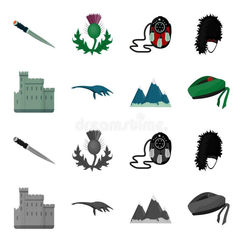 Edynburg Roszuje, Loch Ness potwór, Grampian góry, krajowy nakrętki balmoral, tama o shanter Szkocja ustalona kolekcja ilustracja wektor