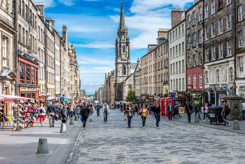 Edynburg ruchliwie Królewska mila, Szkocja zdjęcia royalty free