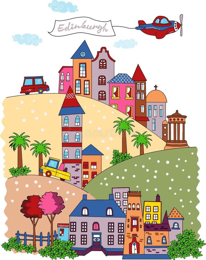 Edynburg Szkocja kreskówki projekt ilustracja wektor