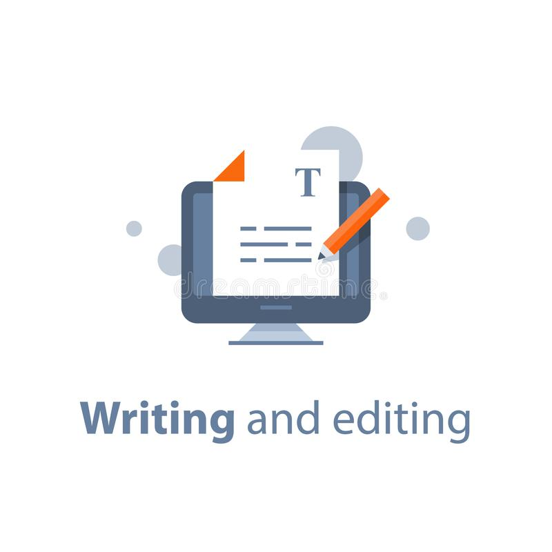 Edytorstwo teksta dokument, online edukacja, kreatywnie writing i relacja, copywriting pojęcie ilustracja wektor