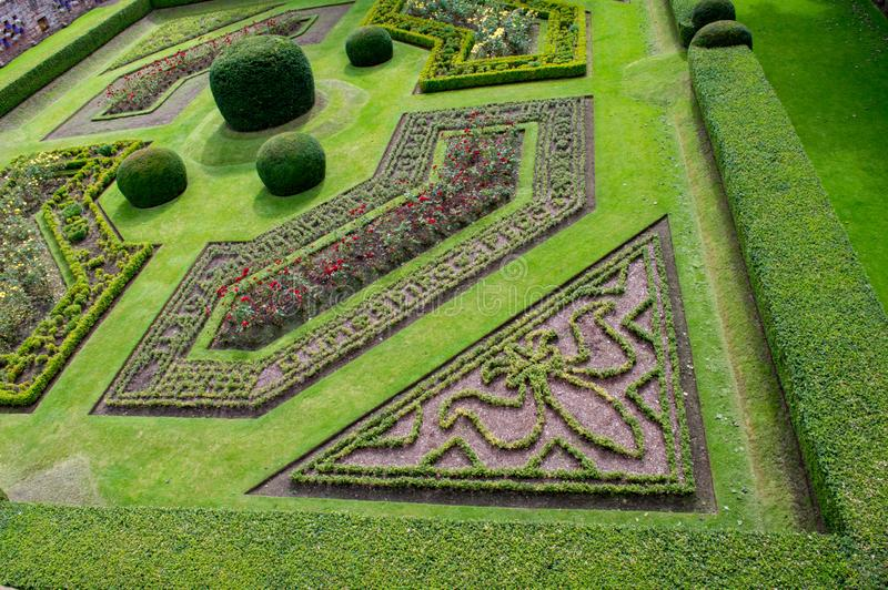 Edzell castle gardens. Exquisite rennaisance formal gardens near Edzell castle in Scotland royalty free stock photo