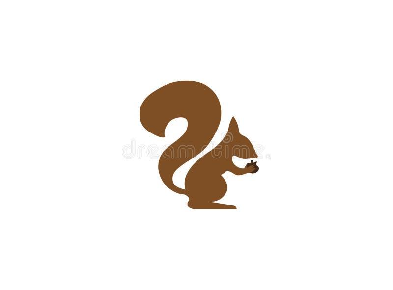 Eekhoorn die okkernotenamandelen voor de illustratie van het embleemontwerp eten stock illustratie