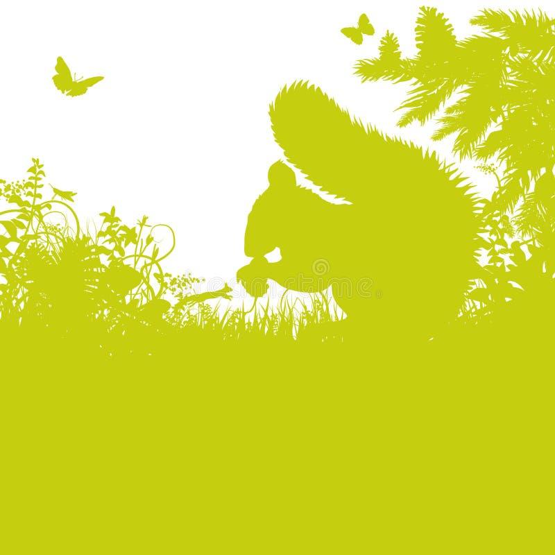 Eekhoorn en eiken noot stock illustratie