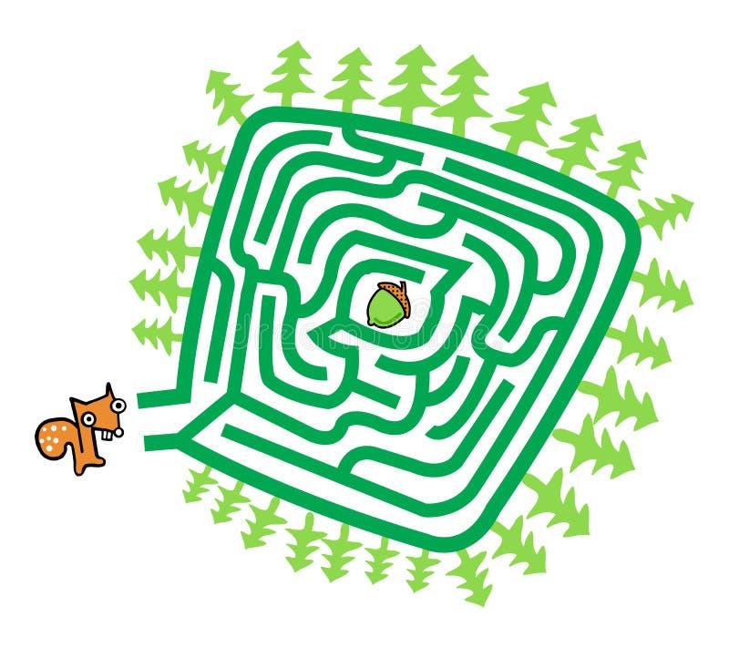 Eekhoorn en Noot Maze Game royalty-vrije stock foto
