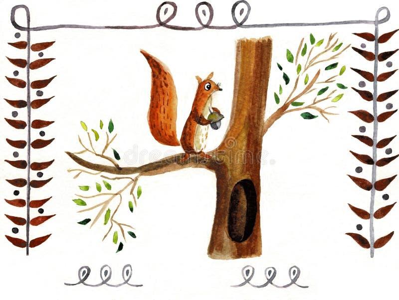 Eekhoorn op een witte achtergrond, waterverf wordt ge?soleerd die royalty-vrije illustratie