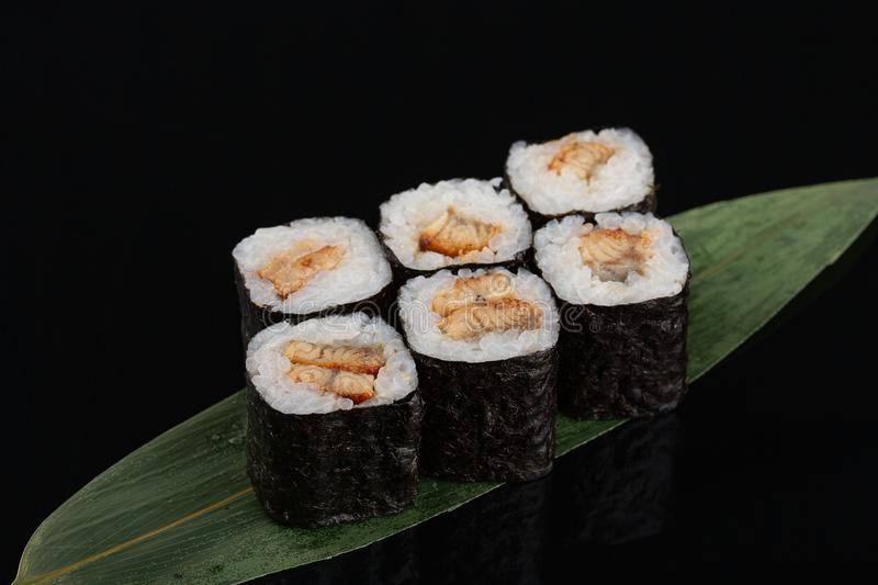 Eel sushi roll japanese food style - selective focus point stock photo