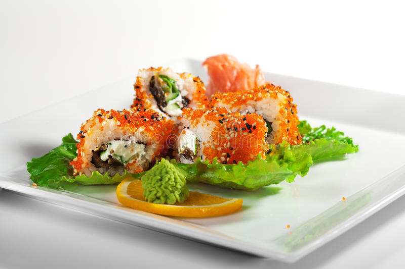 Download Eel and Tobiko Roll stock image. Image of lettuce, meal - 12139217