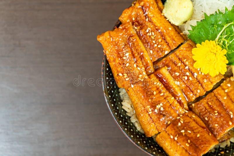 Eel (Unagi) on topped rice bowl (donburi. ) - Japanese food style royalty free stock image