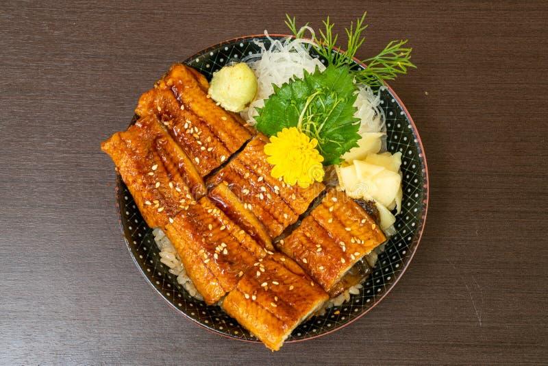 Eel (Unagi) on topped rice bowl (donburi. ) - Japanese food style royalty free stock images