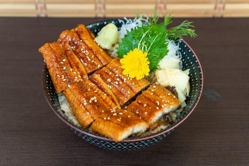 Eel (Unagi) on topped rice bowl (donburi. ) - Japanese food style royalty free stock photo