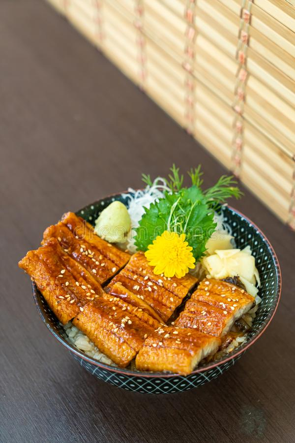 Eel (Unagi) on topped rice bowl (donburi. ) - Japanese food style stock photo