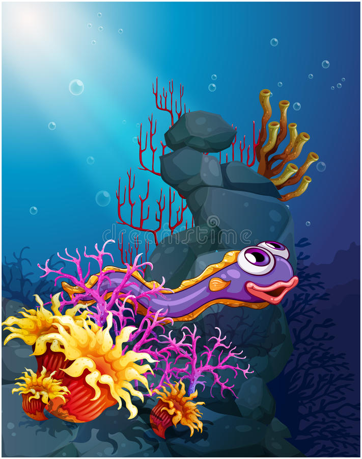 An eel under the sea with coral reefs. Illustration of an eel under the sea with coral reefs stock illustration