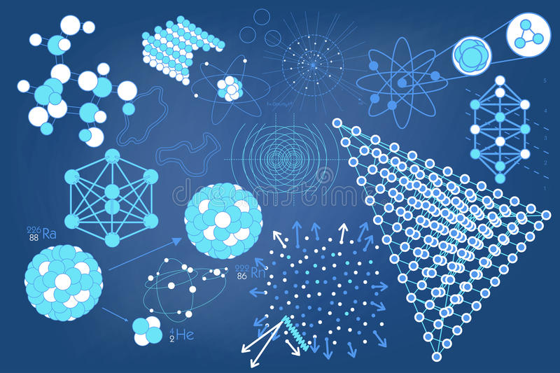 Eelements symbols and schemes of physics. Elements, symbols and schemes of physics, chemistry and sacred geometry. The science theme stock illustration