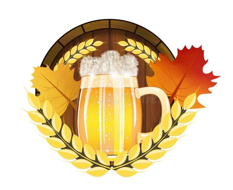Eemblem啤酒节日慕尼黑啤酒节在海报或横幅的德国用用新鲜的储藏啤酒、桶和枫叶 向量 皇族释放例证