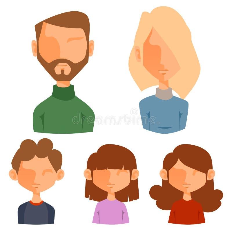Eemotion wektorowi rodzinni ludzie stawiają czoło kreskówki avatar ilustrację Kobiety i mężczyzna emoji stawia czoło ikony i staw royalty ilustracja
