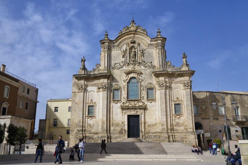 Een één van de vele kerk in het centrum van de stad van Matera, Basilicata, Italië stock fotografie