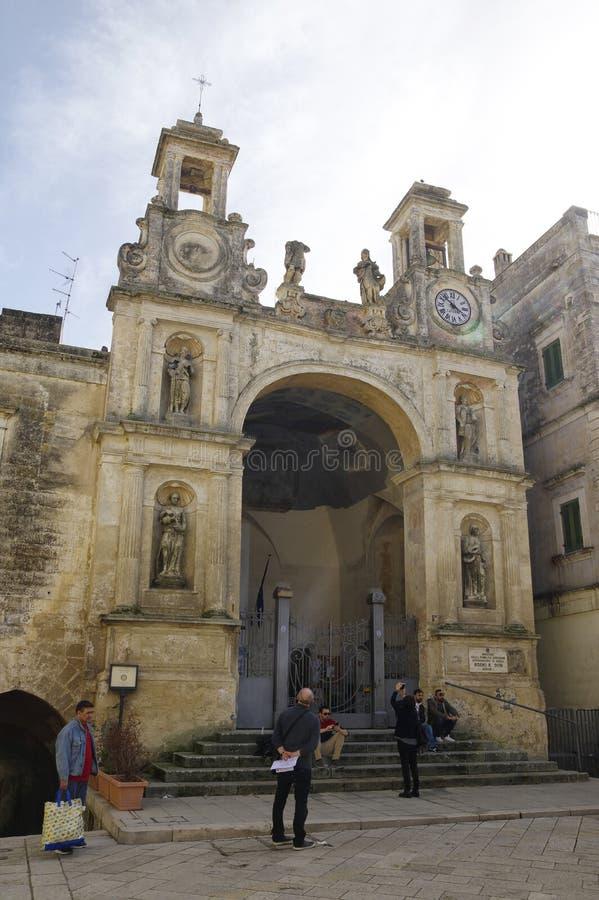Een één van de vele kerk in het centrum van de stad van Matera, Basilicata, Italië royalty-vrije stock foto