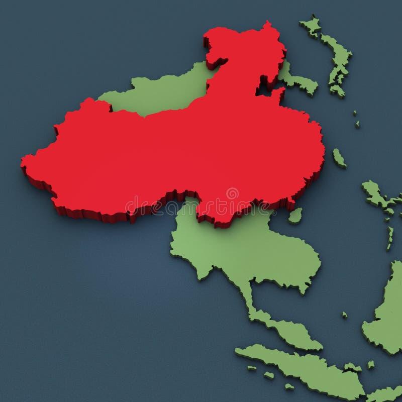 Een 3D kaart van China